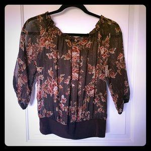 EUC VENUS sheer floral crop blouse